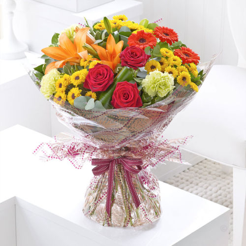 Bright and Cheery Hand Wrapped Bouquet